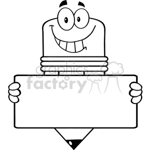 5919 Royalty Free Clip Art Pencil Cartoon Character Holding A Banner clipart. Royalty-free image # 389039