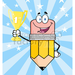 5936 Royalty Free Clip Art Happy Pencil Cartoon Character Holding Golden Trophy Cup clipart. Royalty-free image # 389049
