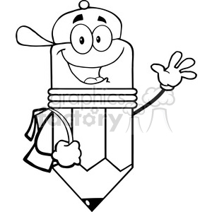 5909 royalty free clip art happy pencil student going to school