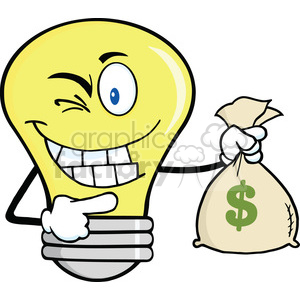 6104 Royalty Free Clip Art Light Bulb Cartoon Mascot Character Holding A Bag Of Money clipart. Royalty-free image # 389089