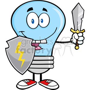 6028 Royalty Free Clip Art Blue Light Bulb Guarder With Shield And Sword1 clipart. Royalty-free image # 389099