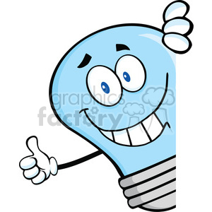 6080 Royalty Free Clip Art Smiling Blue Light Bulb Giving A Thumb Up Behind A Sign clipart. Royalty-free image # 389109