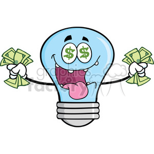 6137 Royalty Free Clip Art Money Loving Blue Light Bulb Cartoon Character clipart. Royalty-free image # 389149