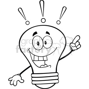 6123 Royalty Free Clip Art Light Bulb Cartoon Mascot Character With A Bright Idea clipart. Royalty-free image # 389179