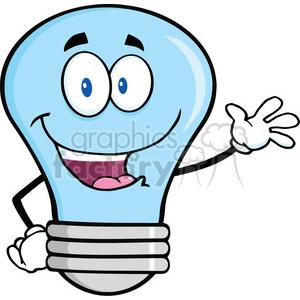 6102 Royalty Free Clip Art Blue Light Bulb Cartoon Mascot Character Waving For Greeting clipart. Royalty-free image # 389189