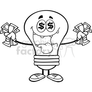 6051 Royalty Free Clip Art Money Loving Light Bulb Cartoon Character clipart. Royalty-free image # 389199