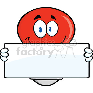 6115 Royalty Free Clip Art Red Light Bulb Cartoon Mascot Character Holding A Banner clipart. Royalty-free image # 389209