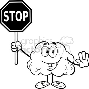 5987 Royalty Free Clip Art Brain Cartoon Character Holding A Stop Sign clipart. Royalty-free image # 389219