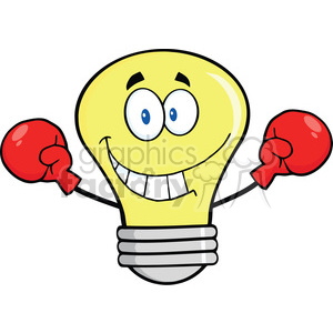 6130 Royalty Free Clip Art Smiling Light Bulb Cartoon Character Wearing Boxing Gloves clipart. Royalty-free image # 389229