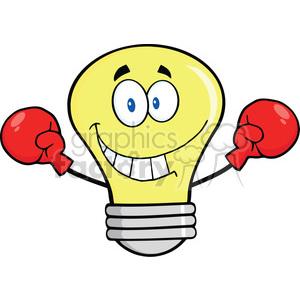 cartoon funny lightbulb idea character boxer fighter boxing