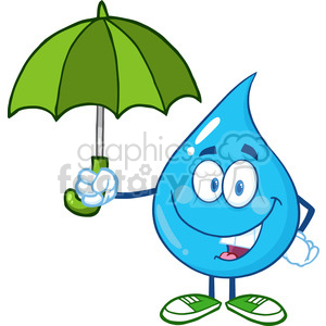 6228 Royalty Free Clip Art Smiling Water Drop With Umbrella clipart. Royalty-free image # 389249