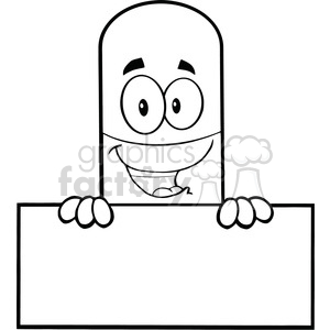 6305 Royalty Free Clip Art Black and White Pill Capsule Cartoon Mascot Character Over Blank Sign clipart. Royalty-free image # 389259