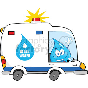 6219 Royalty Free Clip Art Water Drop Character Driving Clean Water Van clipart. Commercial use image # 389269