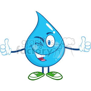 6230 Royalty Free Clip Art Happy Water Drop Character Giving A Double Thumbs Up clipart. Royalty-free image # 389279