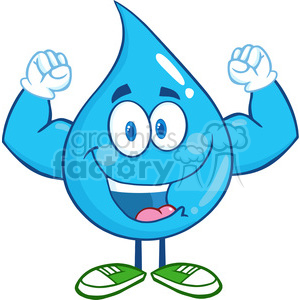 6214 Royalty Free Clip Art Water Drop Cartoon Mascot Character Showing Muscle Arms clipart. Royalty-free image # 389319