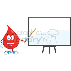 6187 Royalty Free Clip Art Red Blood Drop Character With Pointer Presenting On A Board clipart. Commercial use image # 389329
