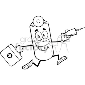 6297 Royalty Free Clip Art Black and White Pill Capsule Cartoon Mascot Character Running With A Syringe And Medicine Bag clipart. Royalty-free image # 389349