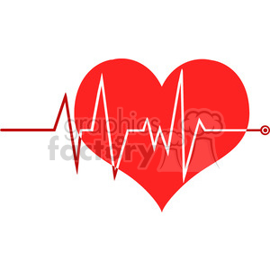 6242 Royalty Free Clip Art Ecg Graph On Red Heart