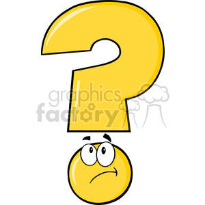 6262 Royalty Free Clip Art Yellow Question Mark Cartoon Character Thinking clipart. Royalty-free image # 389369