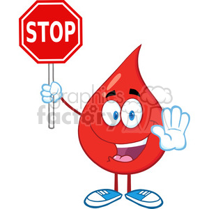 6179 Royalty Free Clip Art Happy Red Blood Drop Character Holding A Stop Sign clipart. Royalty-free image # 389379