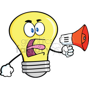6148 Royalty Free Clip Art Angry Light Bulb Cartoon Character Screaming Into Megaphone clipart. Royalty-free image # 389389