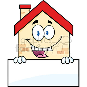 6460 Royalty Free Clip Art Happy House Cartoon Mascot Character Over Blank Sign clipart. Commercial use image # 389409