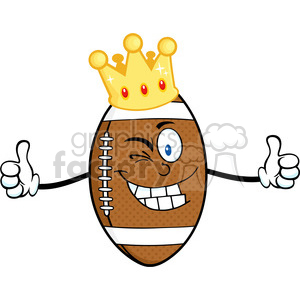 6570 Royalty Free Clip Art American Football Ball Cartoon Character With Gold Crown Winking And Giving A Double Thumbs Up clipart. Royalty-free image # 389419