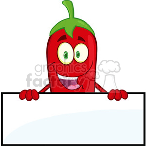 6781 Royalty Free Clip Art Smiling Red Chili Pepper Cartoon Mascot Character Over Blank Sign clipart. Commercial use image # 389429
