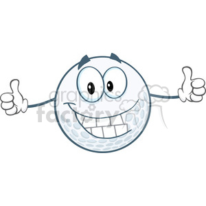 6493 Royalty Free Clip Art Smiling Golf Ball Cartoon Character Giving A Thumbs Up clipart. Royalty-free image # 389464