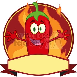 6786 Royalty Free Clip Art Red Chili Pepper Cartoon Mascot Logo clipart. Royalty-free image # 389474