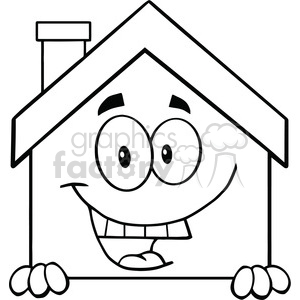 6465 Royalty Free Clip Art Black and White House Cartoon Mascot Character Over Blank Sign