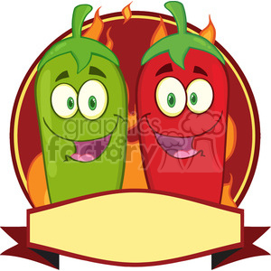 6788 Royalty Free Clip Art Mexican Chili Peppers Cartoon Mascot Label clipart. Royalty-free image # 389494