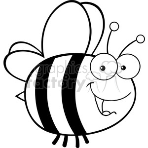 6543 Royalty Free Clip Art Black and White Cute Bee Cartoon Mascot Character