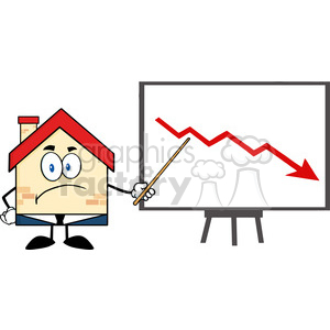 6447 Royalty Free Clip Art Grumpy Business House Cartoon Character With Pointer Presenting A Falling Arrow clipart. Commercial use image # 389514