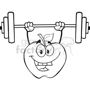 6525 Royalty Free Clip Art Black and White Apple Cartoon Character Lifting Weights clipart. Royalty-free image # 389524