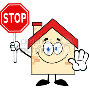 6472 royalty free clip art house cartoon character holding a stop sign