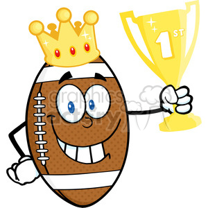 6586 Royalty Free Clip Art American Football Ball Cartoon Character With Golden Crown Holding First Prize Trophy Cup clipart. Royalty-free image # 389544