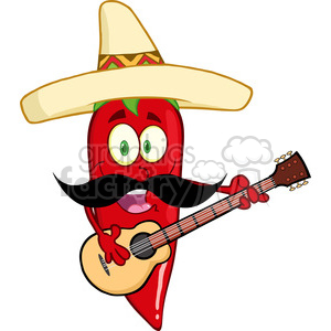 6780 Royalty Free Clip Art Red Chili Pepper Cartoon Character With Mexican Hat And Mustache Playing A Guitar clipart. Commercial use image # 389554