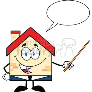 6469 Royalty Free Clip Art Business House Cartoon Character Holding A Pointer With Speech Bubble clipart. Commercial use image # 389604