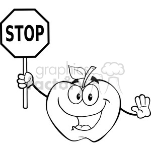 6533 Royalty Free Clip Art Black and White Apple Cartoon Mascot Character Holding A Stop Sign