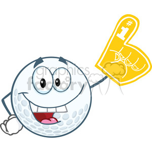 6495 Royalty Free Clip Art Smiling Golf Ball With Foam Finger