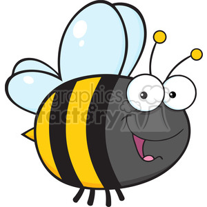 6545 Royalty Free Clip Art Cute Bee Cartoon Mascot Character clipart. Commercial use image # 389646