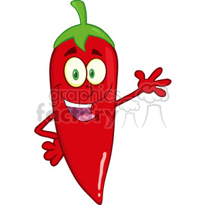 6773 Royalty Free Clip Art Smiling Red Chili Pepper Cartoon Mascot Character Waving For Greeting clipart. Royalty-free image # 389656