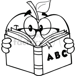 6522 Royalty Free Clip Art Black and White Apple Teacher Character Reading A Book clipart. Royalty-free image # 389666