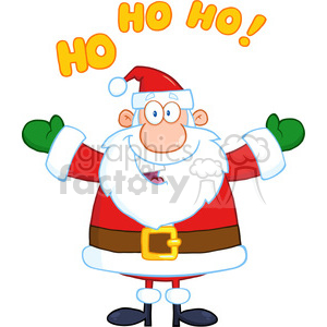6658 Royalty Free Clip Art Happy Santa Claus With Open Arms For Hugging clipart. Royalty-free image # 389676