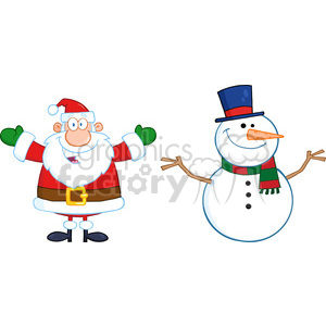 6676 Royalty Free Clip Art Happy Santa Claus And Snowman clipart. Royalty-free image # 389686