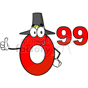 6692 Royalty Free Clip Art Price Tag Red Number 0-99 With Pilgrim Hat Cartoon Mascot Character Giving A Thumb Up