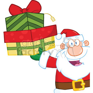 6683 Royalty Free Clip Art Smiling Santa Claus Holding Up A Stack Of Gifts