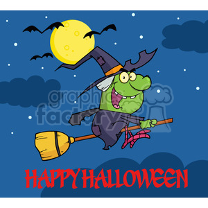 6628 Royalty Free Clip Art Happy Halloween Greeting With Witch Ride A Broomstick In The Night clipart. Royalty-free image # 389716