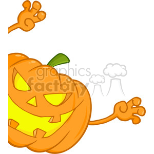 6614 Royalty Free Clip Art Scaring Halloween Pumpkin Looking Around A Sign clipart. Royalty-free image # 389736